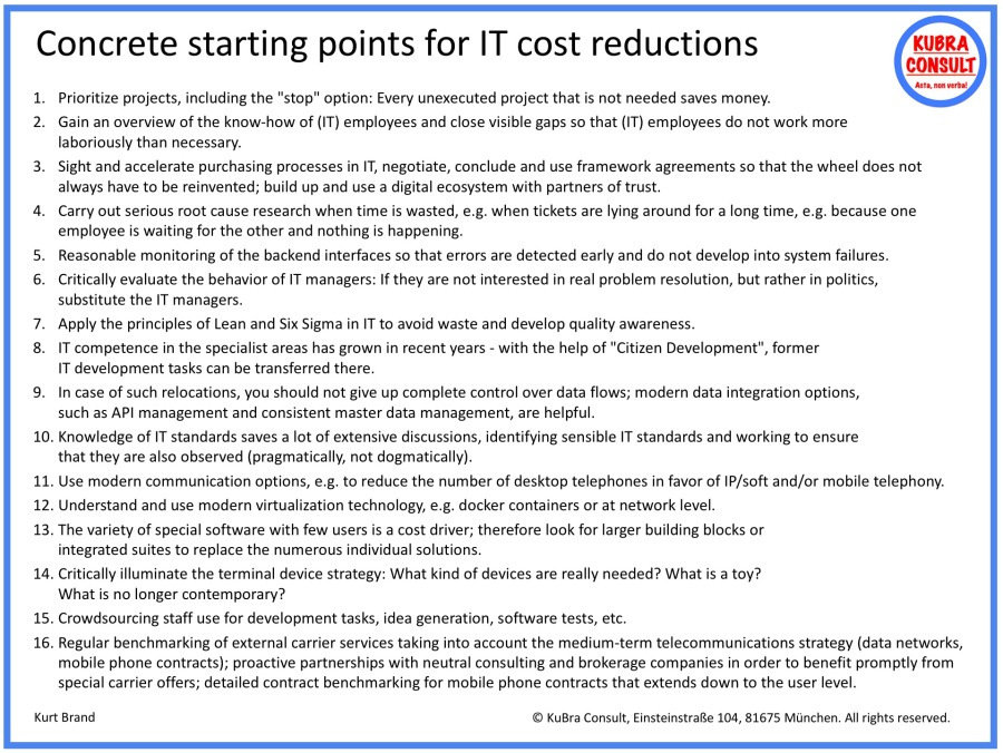2018-05-14_KuBra Consult - Concrete starting points for IT cost reductions