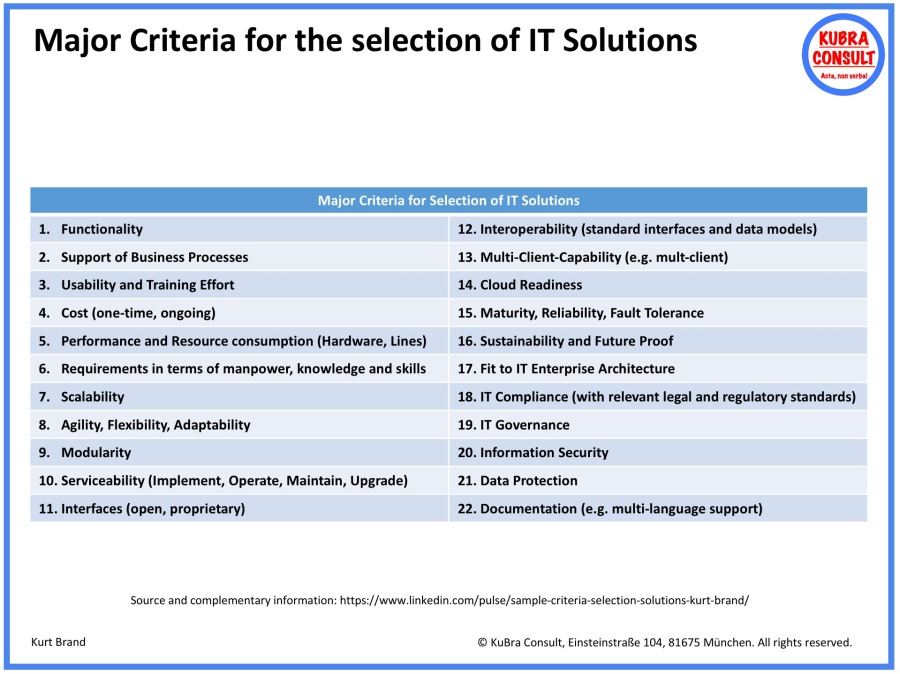 2018-08-24_KuBra Consult - Major Criteria for the selection of IT solutions