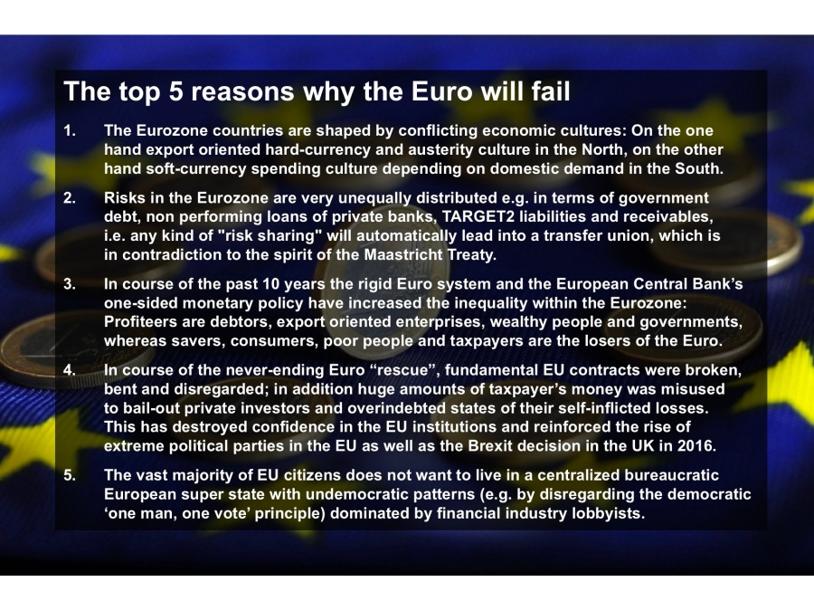 The top 5 reasons why the Euro will fail
