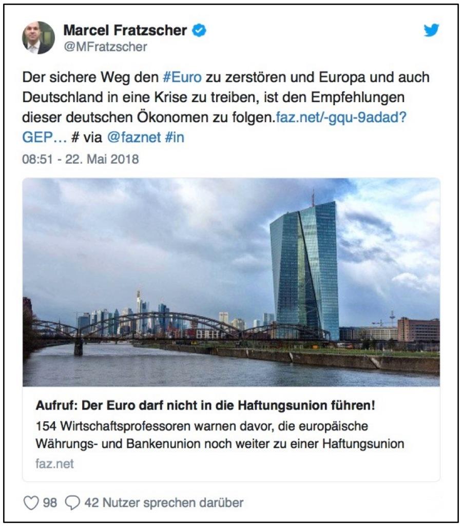 Tweet von Marcel Fratzscher zu Ökonomenaufruf